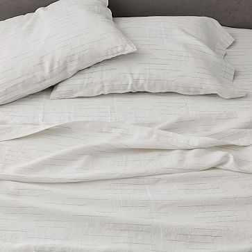 Belgian Linen Space Dyed Sheet Set, Queen, Stone White - West Elm