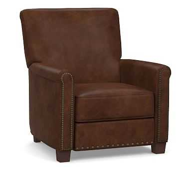 Irving Roll Arm Leather Recliner with Bronze Nailheads, Polyester Wrapped Cushions, Vegan Java - Pottery Barn