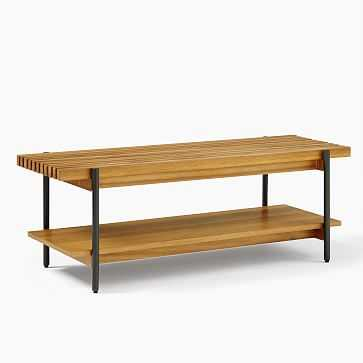 Slatted Wood Rectanlge Coffee Table, Antique Bronze - West Elm