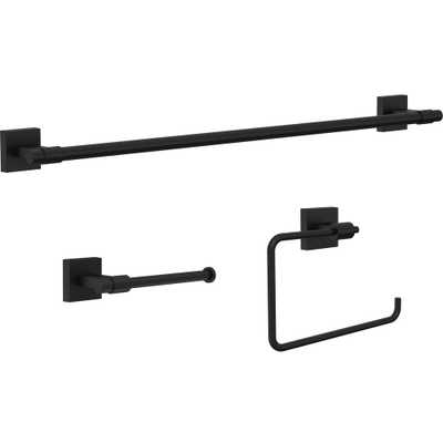 Franklin Brass Maxted 3-Piece Bath Hardware Set with Towel Ring, Toilet Paper Holder and 24 in. Towel Bar in Matte Black - Home Depot