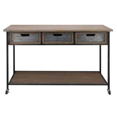 Benjara 31.5 in. Height Brown and Black Caster Supported 3-Drawer Wood and Metal Console Table - Home Depot
