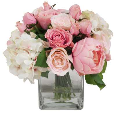 Pink & White Assorted Rose in Water Glass Vessel - Perigold