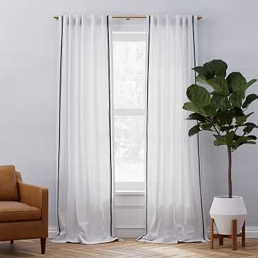 "Belgian Flax Linen Embroidered Stripe Curtain, White + Iron Gate, 48""x84"" - West Elm"