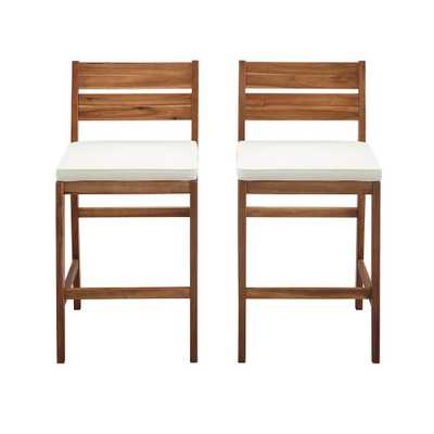 Welwick Designs Brown Acacia Wood Patio Outdoor Bar Stools with White Cushions (2-Pack) - Home Depot