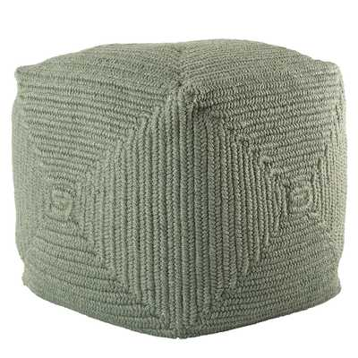 Bridgehampton Indoor/ Outdoor Solid Green Cube Pouf - Collective Weavers