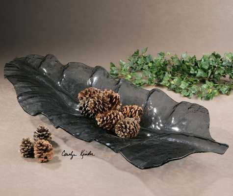 Smoked Leaf Glass Tray - Hudsonhill Foundry