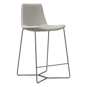 Slope Upholstered Counter Stool, Basket Slub, Feather Gray, Charcoal - West Elm