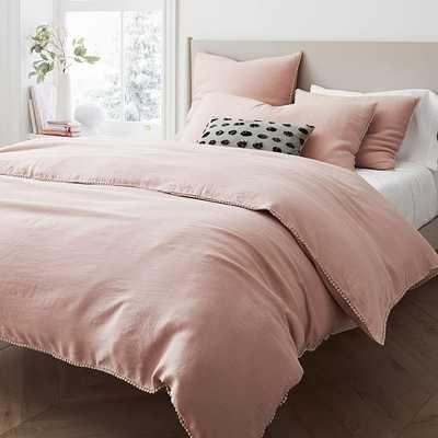 European Linen Pom Pom Duvet, Twin Duvet Cover, Adobe Rose - West Elm