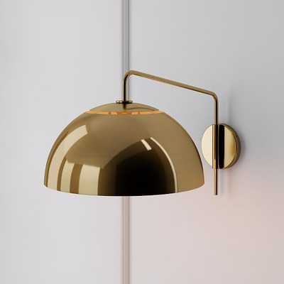 Sculptural Adjustable Sconce, Metal Medium, Brass Antique Brass - West Elm