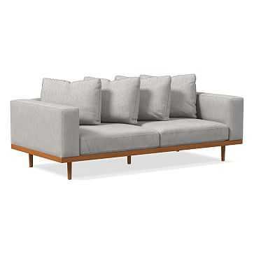 "Newport 84"" Sofa Toss Back Cushion, Performance Coastal Linen, Platinum, Pecan - West Elm"