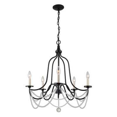 Elle Decor 5-Light 24 in. Black and White Chandelier - Home Depot