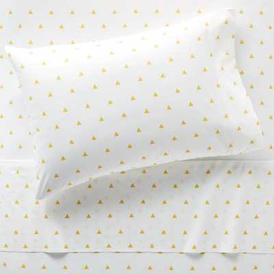 Organic Yellow Triangle Twin Sheet Set - Crate and Barrel