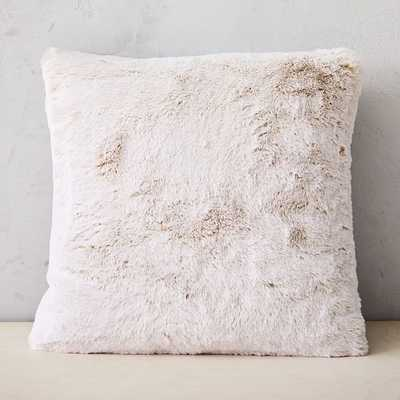 "Faux Fur Chinchilla Pillow Cover, 20""x20"", Stone White - West Elm"