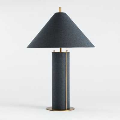 Remi Blue Linen Table Lamp - Crate and Barrel