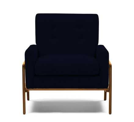 Blue Clyde Mid Century Modern Chair - Bentley Indigo - Mocha - Joybird