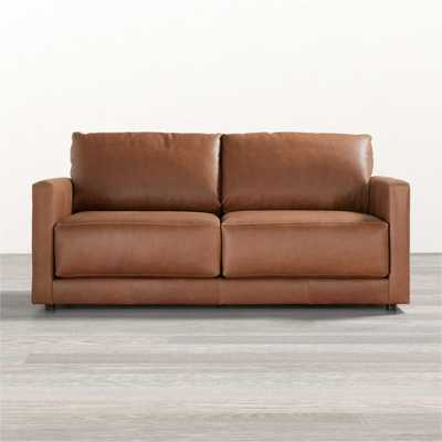 Gather Petite Leather Apartment Sofa - Crate and Barrel