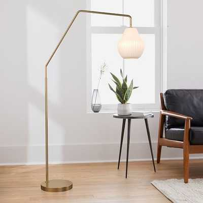 Sculptural Overarching Floor Lamp, Ribbed Small, Champagne, Antique Brass - West Elm