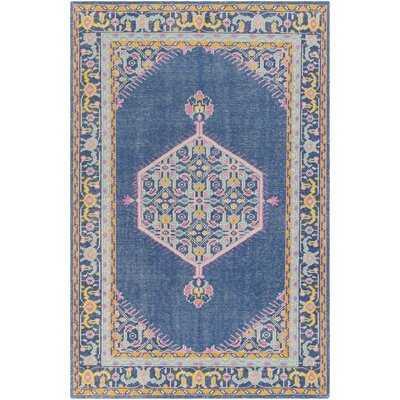 Hargis Oriental HandKnotted Wool Navy/Bright Pink Rug - Wayfair