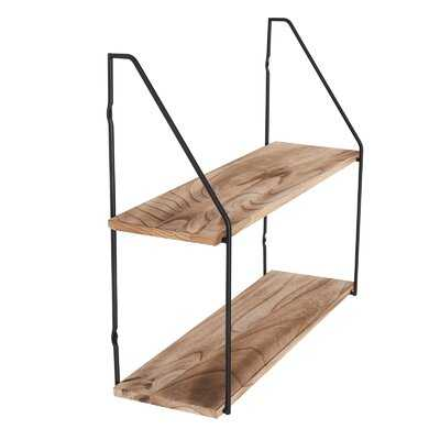 2 Tier Floating Shelves For Bedroom Wall Decor, Small Bookshelf For Living Room, Office, Kitchen, Natural Burned Rustic Wood Wall Shelf With Metal Brackets - Wayfair