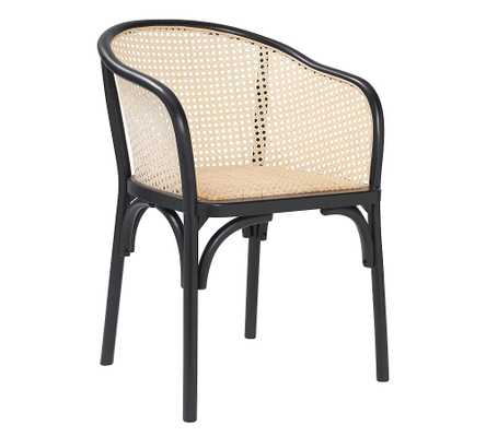 Barrel Cane Back Dining Armchair, Black - Pottery Barn