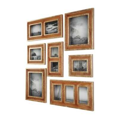Home Decorators Collection Natural Wood and Gold Gallery Wall Picture Frames (Set of 7), Brown - Home Depot
