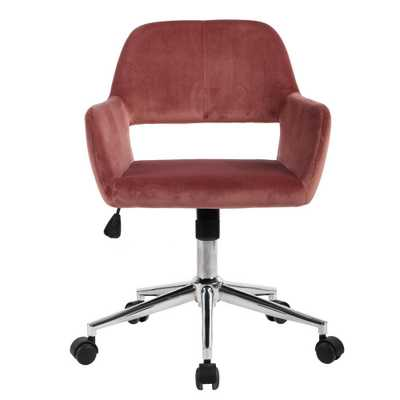 FurnitureR Ross Rose Velvet Home Task Chair, Pink Velvet - Home Depot