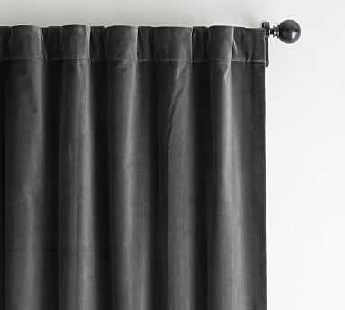 "Velvet Twill Curtain, 50"" W X 108"" L, Washed Black - Pottery Barn"