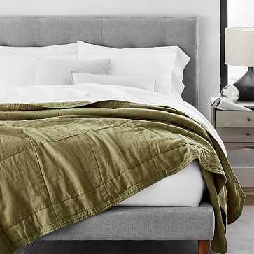Belgian Linen Blanket, Camo Olive, Full/Queen - West Elm
