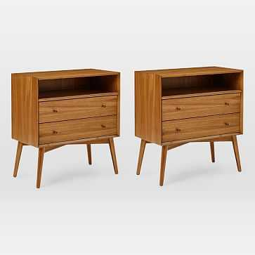 Mid-Century Grand Nightstand, Acorn, Set of 2 - West Elm
