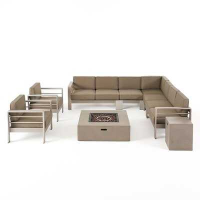 Gosport Outdoor L-Shaped 9 Piece Sectional Seating Group with Cushion - Wayfair