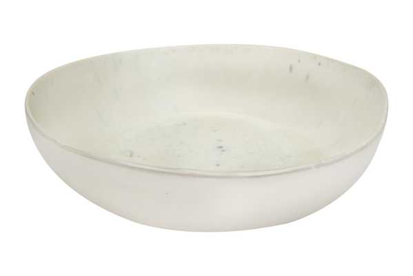 White Stoneware Serving Bowl with Reactive Glaze Finish - Nomad Home