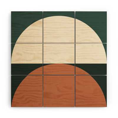 """Abstract Geometric 01e by The Old Art Studio - Wood Wall Mural3' X 3' (Nine 12"""" Wood Squares) - Wander Print Co."""