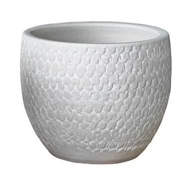 Haisley Painted Terra Cotta Planter, White - Large Round - Pottery Barn