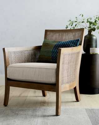 Blake Grey Wash Rattan Chair with Fabric Cushion - Crate and Barrel
