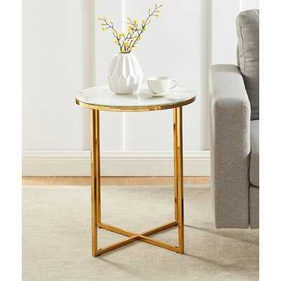 Glass Top Drum End Table - Wayfair