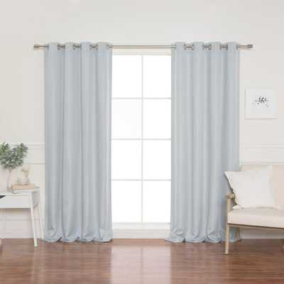 Best Home Fashion Light Gray Basketweave Faux Linen Blackout Grommet Curtains - 52 in. W x 84 in. L - Home Depot