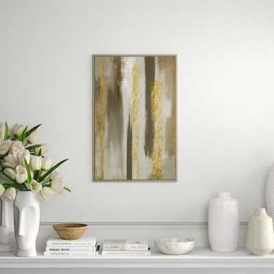 """JBass Grand Gallery Collection 'Modern Glam Gold II' Framed Graphic Art Print on Canvas Size: 29.75"""" H x 19.75"""" W - Perigold"""