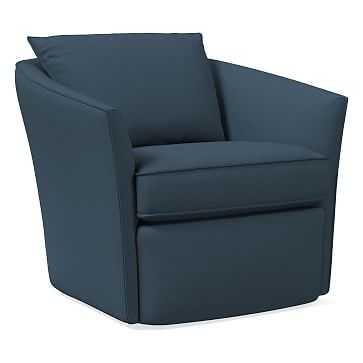 Duffield Swivel Chair, Poly, Yarn Dyed Linen Weave, Regal Blue - West Elm