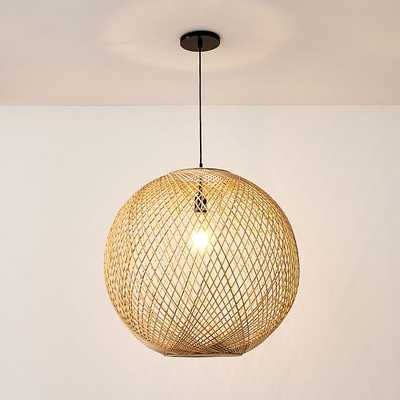 "Wicker Globe Pendant 26"", Natural, Damp/Open Weave Electric, Dark Bronze - West Elm"