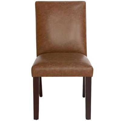Lexie Leather Upholstered Wood Side Chair in Brown - Wayfair