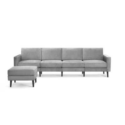 The Nomad Velvet King Sofa with Ottoman in Feather, Ebony Legs - Burrow