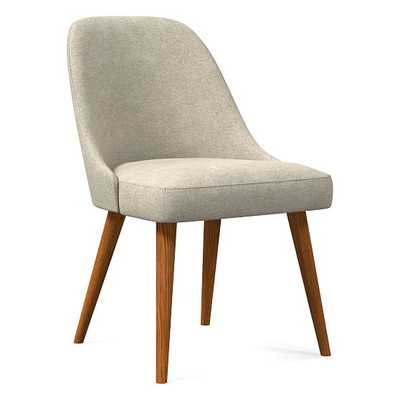 Mid-Century Upholstered Dining Chair, Distressed Velvet, Light Taupe, Pecan - West Elm