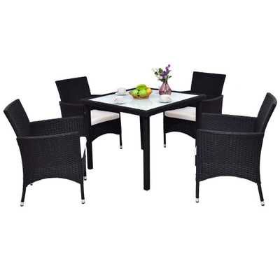 Boyel Living 5-Pieces Classic Wicker Patio Furniture Set Conversation Set Rattan Chair with Beige Cushion and Table Set - Home Depot