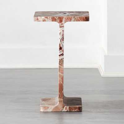 I Beam Pink Marble Side Table - CB2