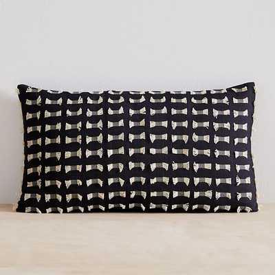 """Cotton Silk Pixel Pillow Cover, 12""""x21"""", Black - West Elm"""