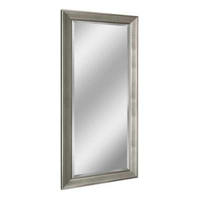 Deco Mirror Pave 31 in. x 65 in. Single Leaner Mirror in Brush Nickel - Home Depot