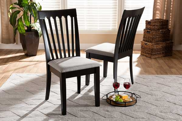 Baxton Studio Minette Modern and Contemporary Gray Fabric Upholstered and Espresso Brown Finished Wood 2-Piece Dining Chair Set - Lark Interiors