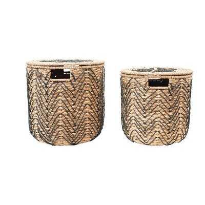 Handmade Woven Bankuan Baskets With Lids, Natural & Black, Set Of 2 - Wayfair