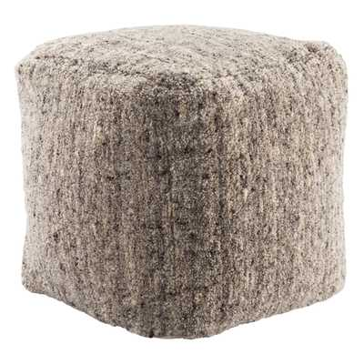 Sherwood Solid Gray/ Beige Cube Pouf - Collective Weavers