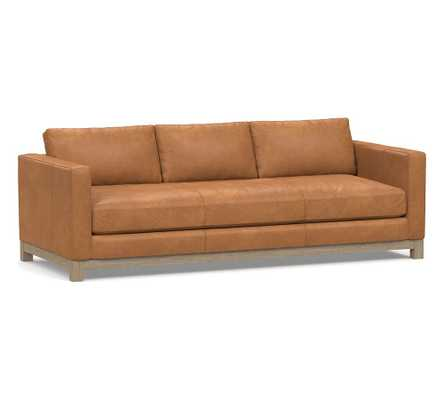 """Jake Leather Grand Sofa 95.5"""" with Wood Legs, Down Blend Wrapped Cushions Churchfield Camel - Pottery Barn"""